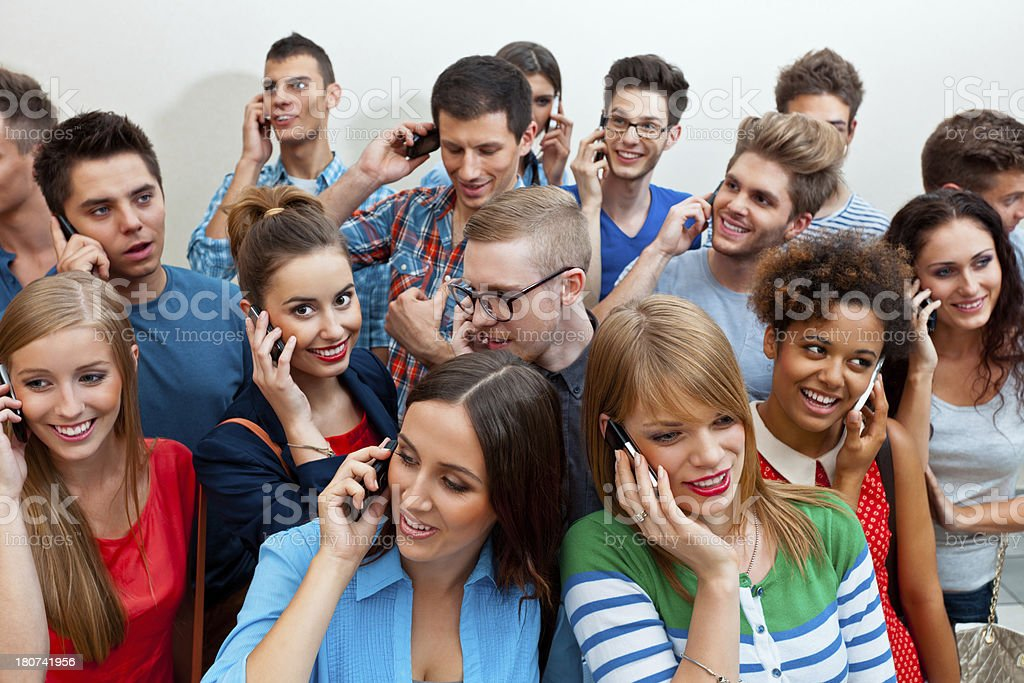 Group of people using mobile phones royalty-free stock photo