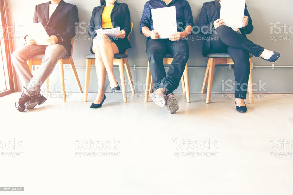 Groupe de personnes en attente de l'entrevue d'emploi photo libre de droits