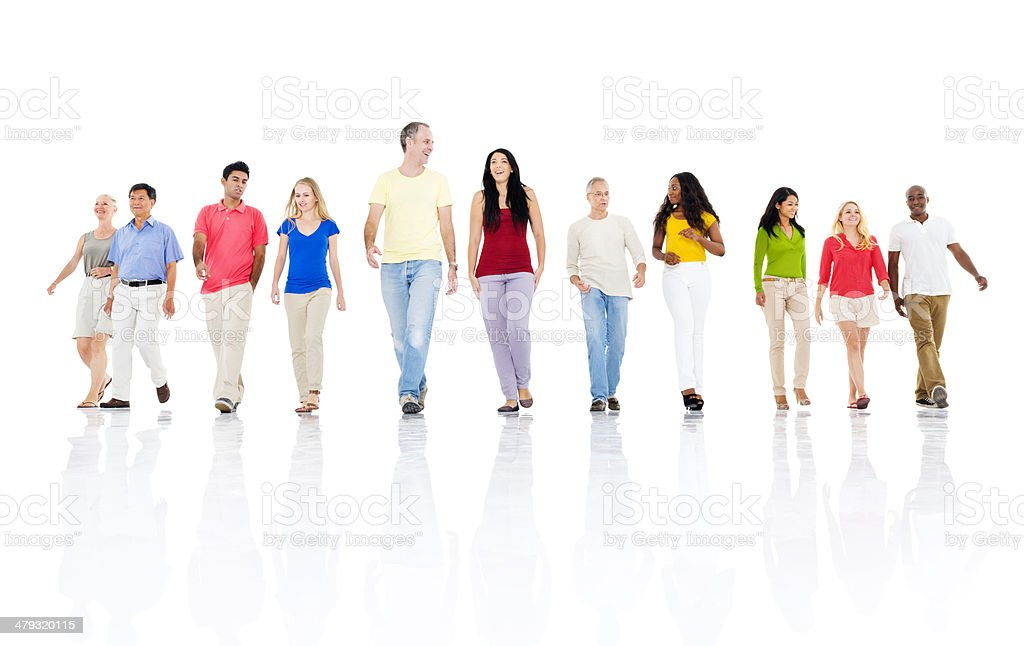 Group of people walking forward royalty-free stock photo