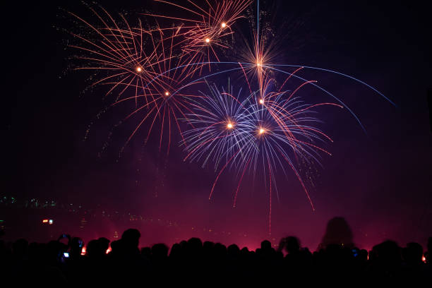 Group of people watching fireworks display fireworks stock photo