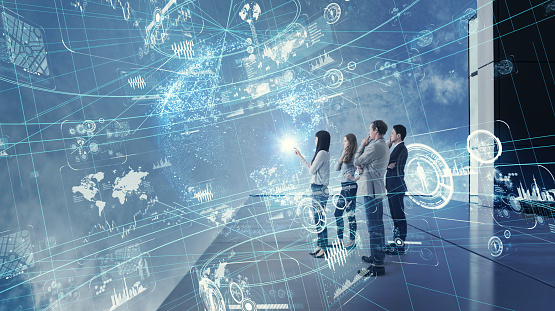 istock Group of people watching futuristic GUI. 971246864
