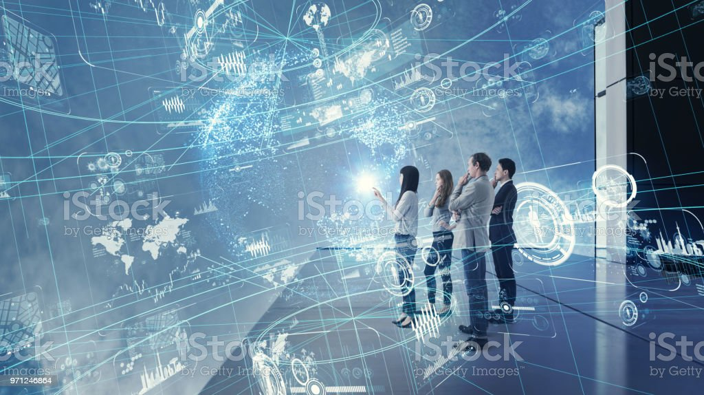 Group of people watching futuristic GUI. stock photo