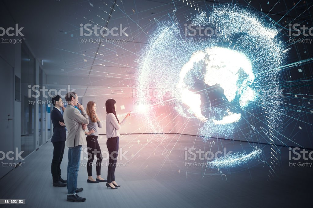 Group of people watching holographic of the earth. Astronomy concept. - foto stock