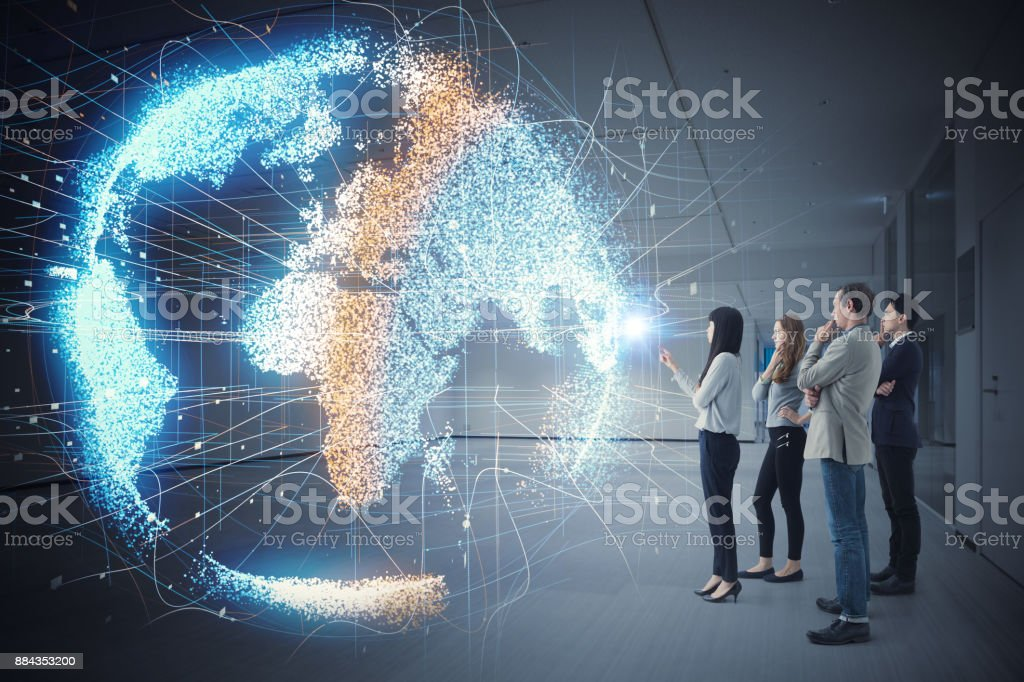 Group of people watching holographic of the earth. Astronomy concept. stock photo