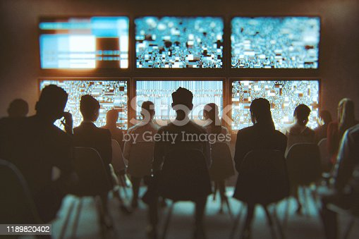 Group of people watching multiple TV sets at the same time. This is entirely 3D generated image.