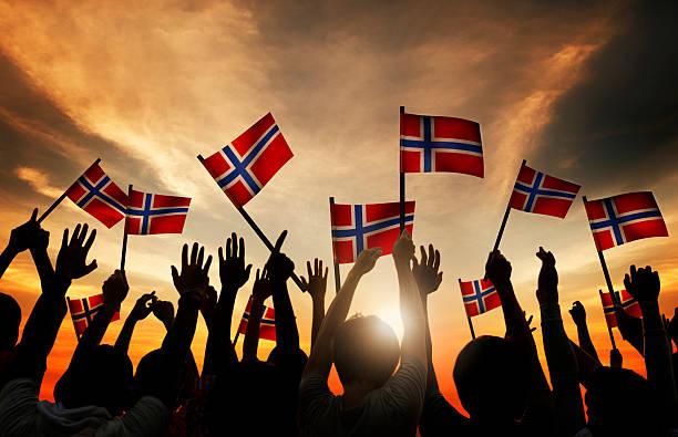 group of people waving norwegian flags in back lit - noorse vlag stockfoto's en -beelden