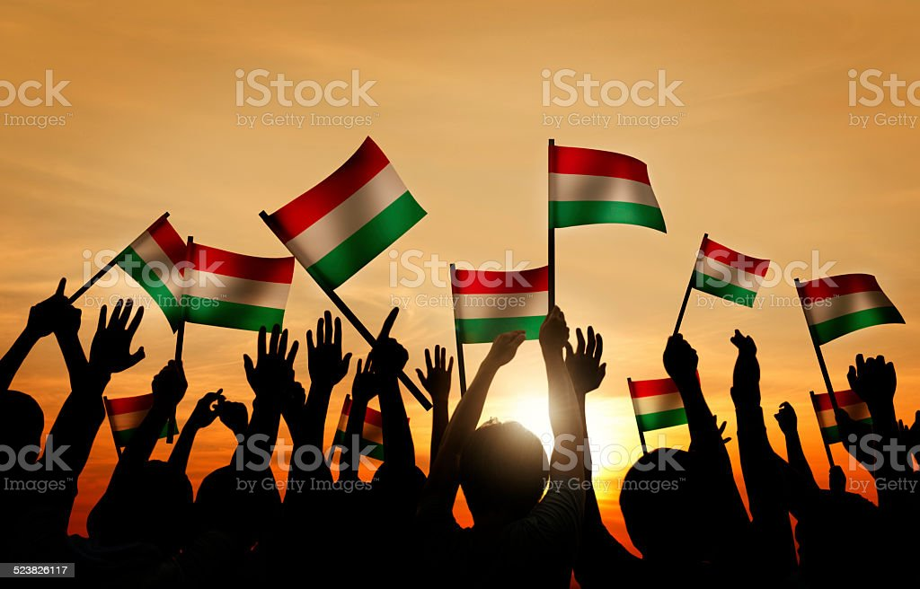 Group of People Waving the Flag of Hungary stock photo
