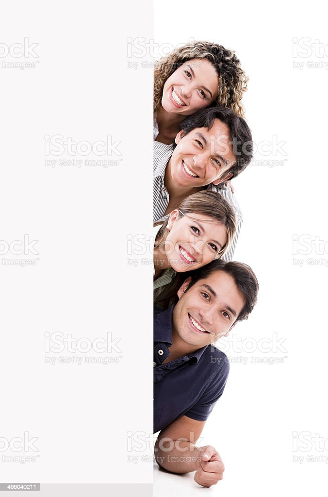 Group of people with a banner royalty-free stock photo
