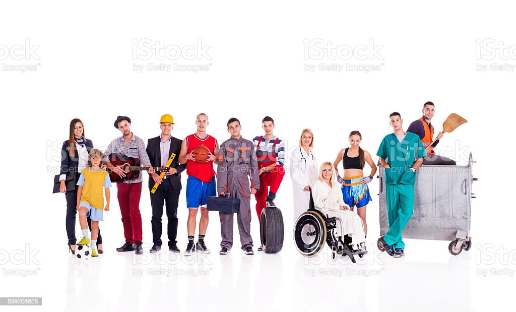 Group of people with different occupations. stock photo