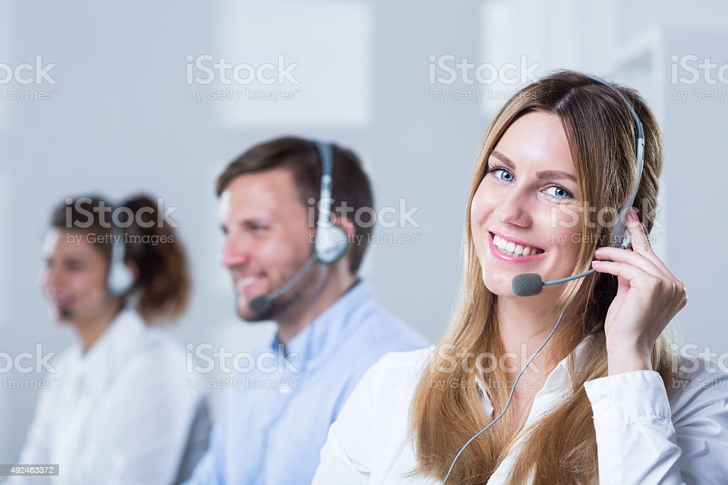 Group of people with headsets stock photo