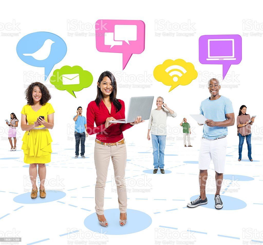 Group of people with various connectivity ideas and devices royalty-free stock photo