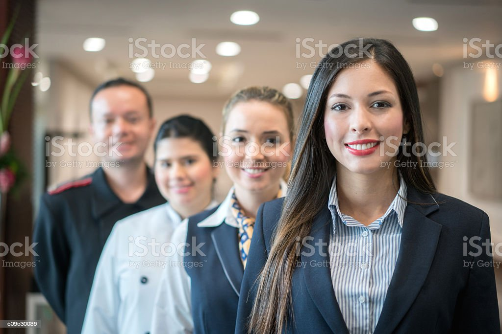 Group of people working at the hotel stock photo
