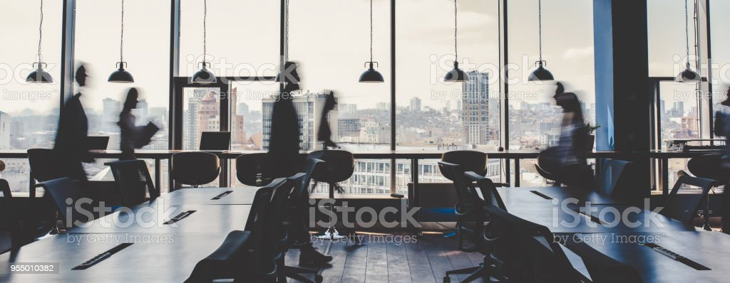 Group of people working in modern office stock photo