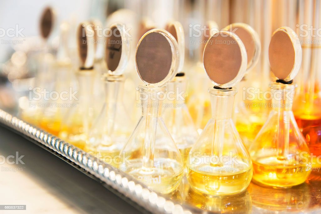 Group of Perfume glass bottles stock photo