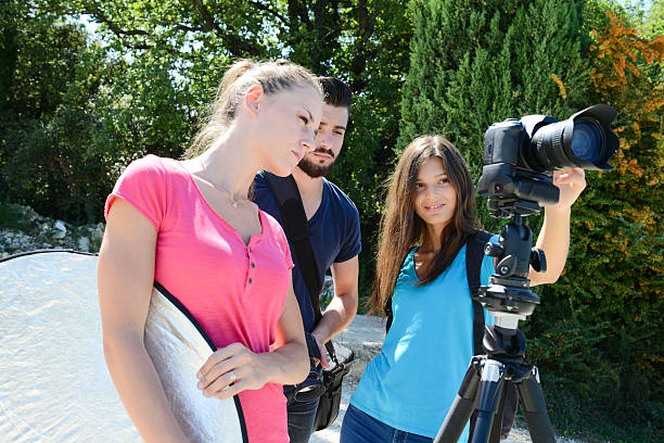 group of photographer student on photography shooting workshop course outdoor stock photo