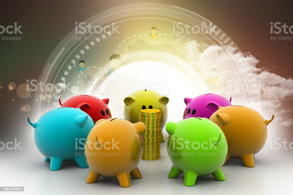 group of piggybanks around with gold coins royalty-free stock photo