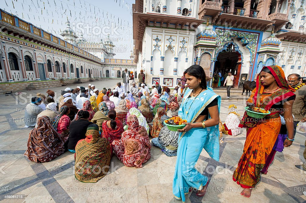 Group of pilgrims in Janaki Mandir, Janakpur, Nepal royalty-free stock photo
