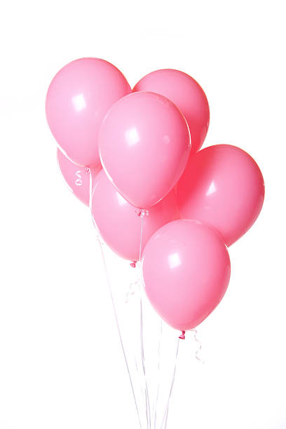 Group of Pink Balloons on White Background Bunch stock photo