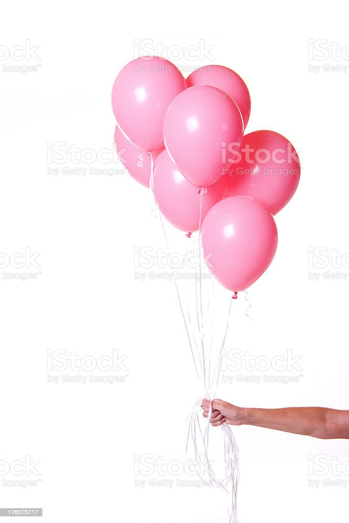 Group of Pink Balloons on White Background Bunch with Hand stock photo