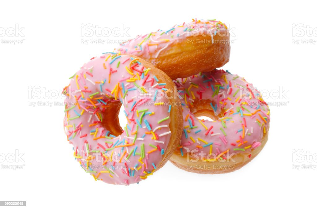 Group of pink donuts stock photo