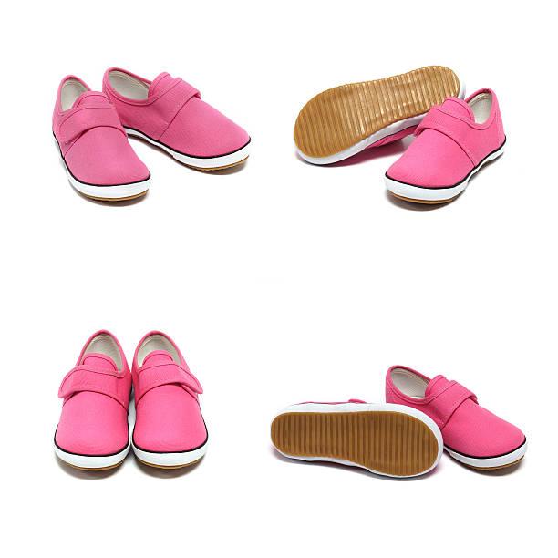 gruppe von pink-sneakers - babyschuhe nähen stock-fotos und bilder