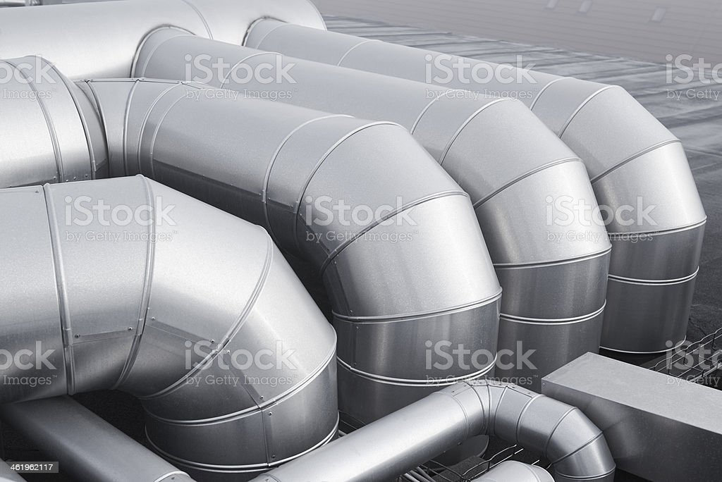 Group of pipes in a climate control system stock photo