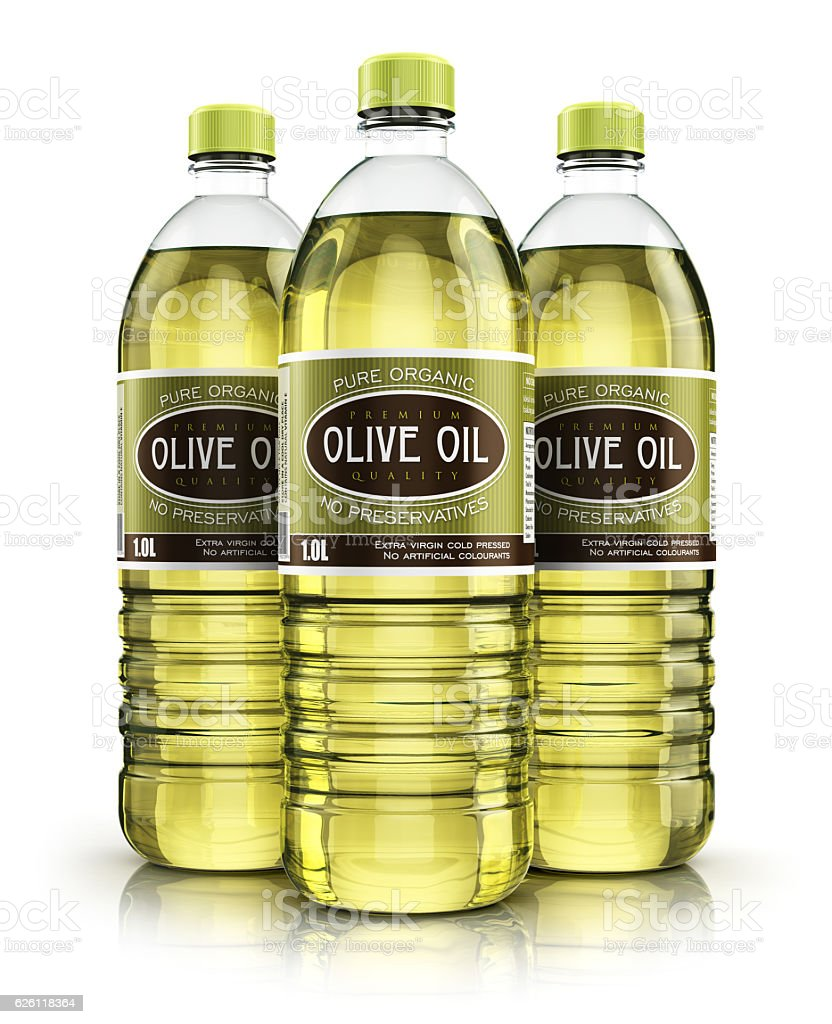 Group of plastic bottles with olive oil 3D render illustration of the group of three plastic bottles with yellow refined vegetable olive cooking oil or organic fat isolated on white background with reflection effect Bottle Stock Photo
