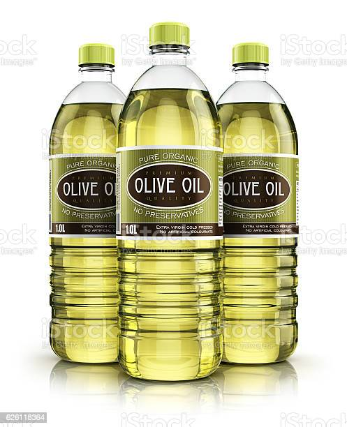 Group Of Plastic Bottles With Olive Oil Stock Photo - Download Image Now