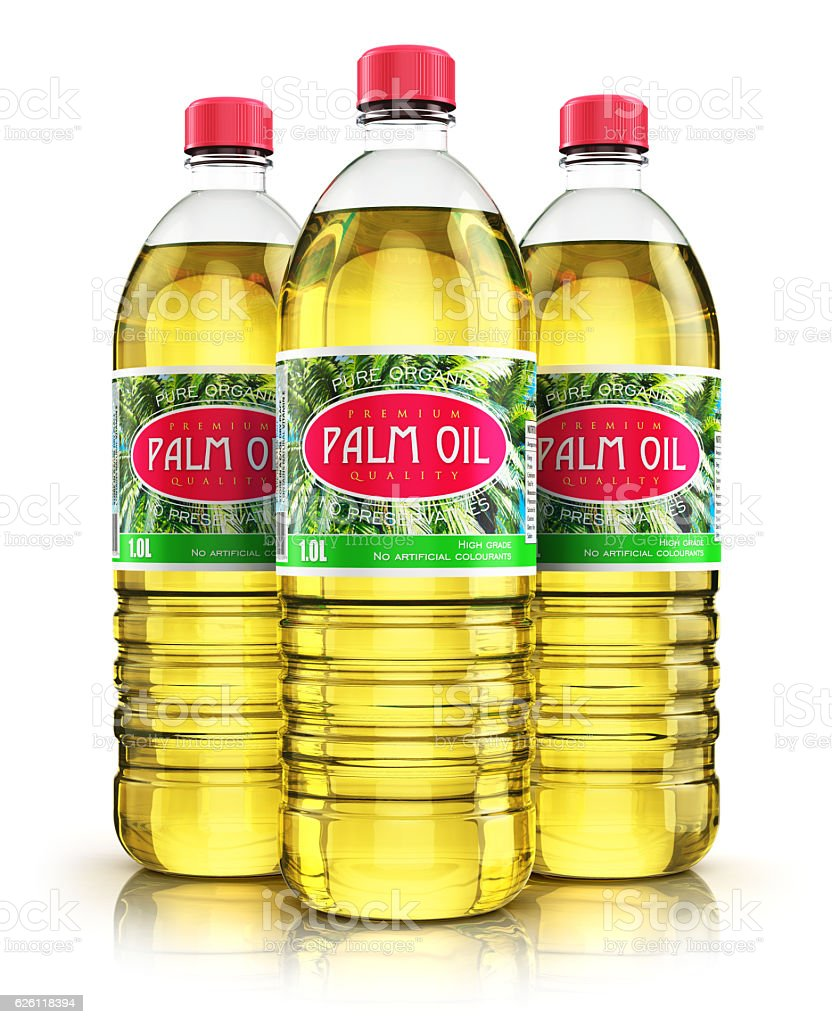 Group of plastic bottles with palm oil stock photo