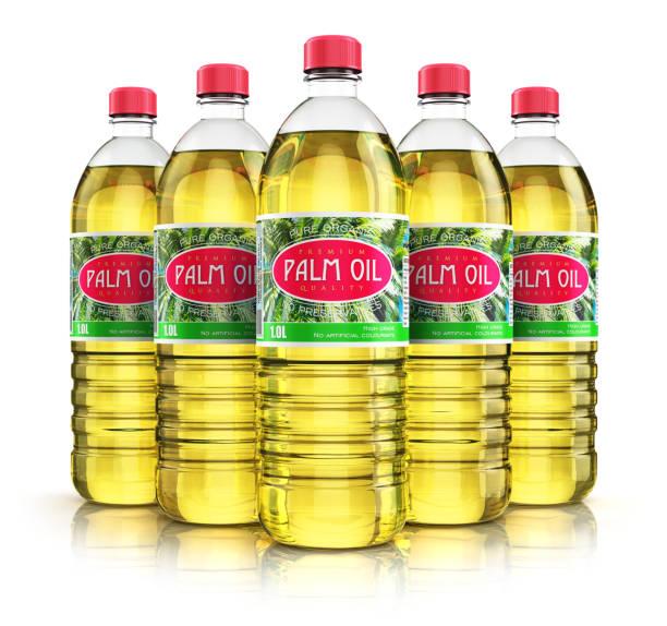 group of plastic bottles with palm oil - palm oil bottles imagens e fotografias de stock