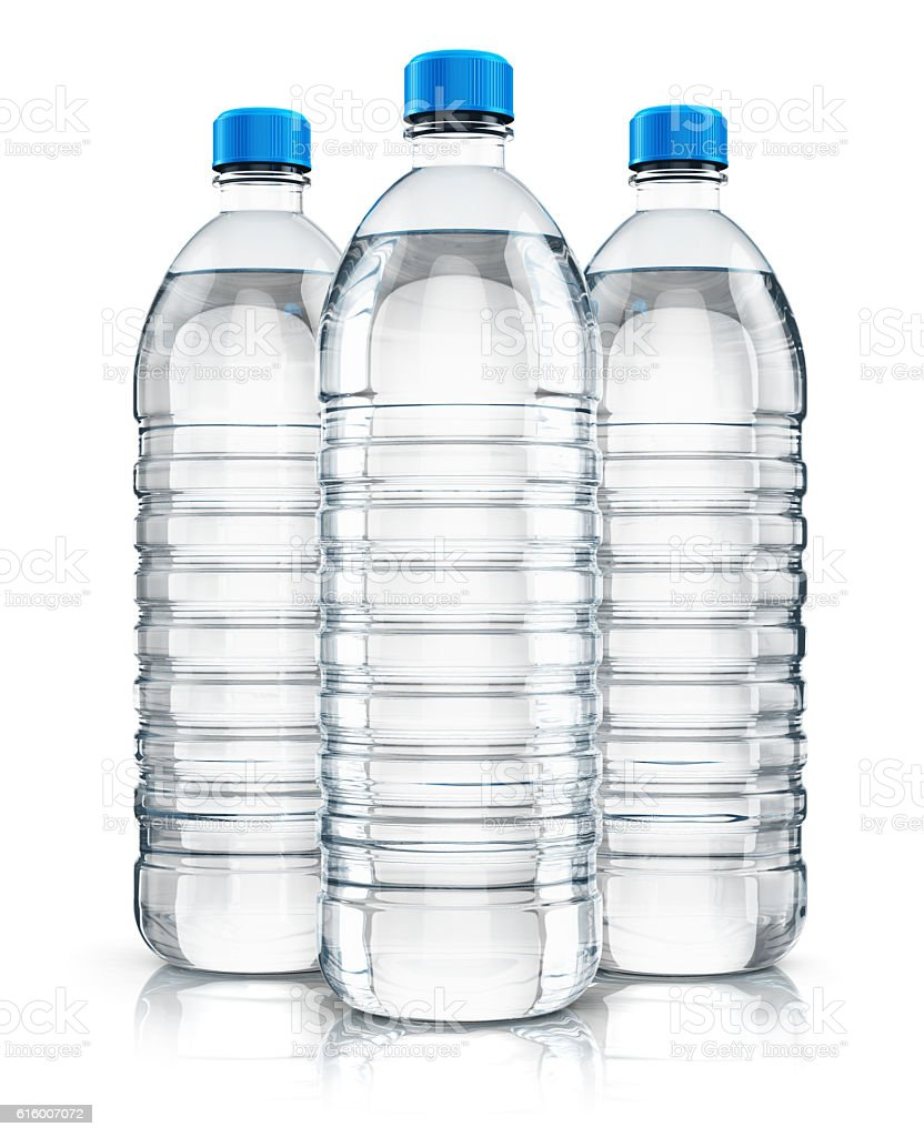 Group of plastic drink water bottles – Foto