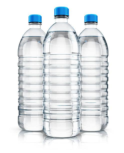 Group of plastic drink water bottles - foto de stock