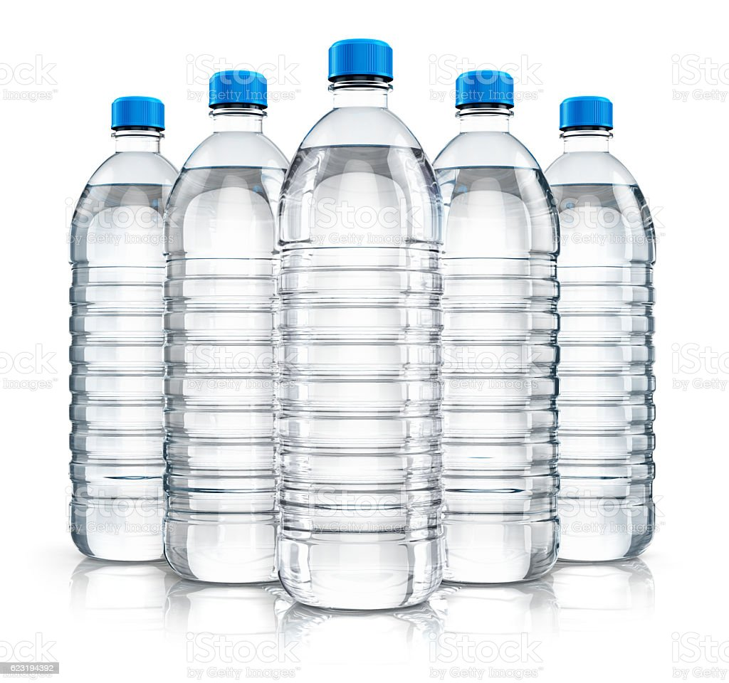 Group of plastic drink water bottles stock photo