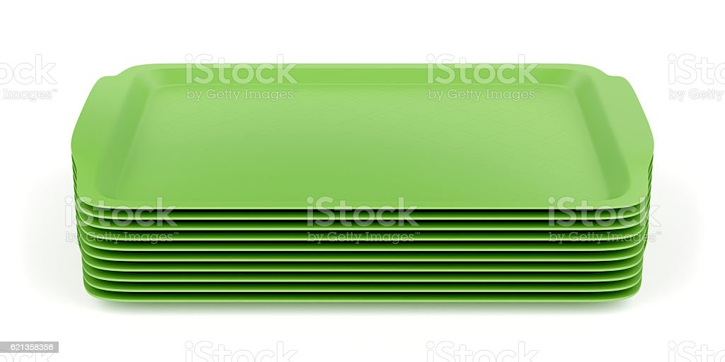 Group of plastic trays stock photo