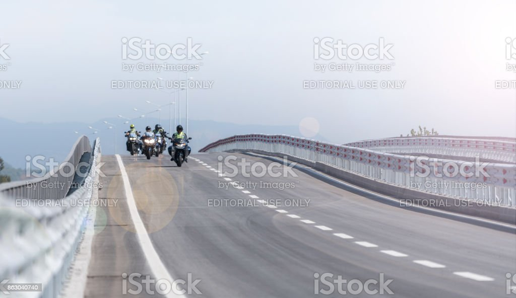Group of Police Motorbikes on the road stock photo