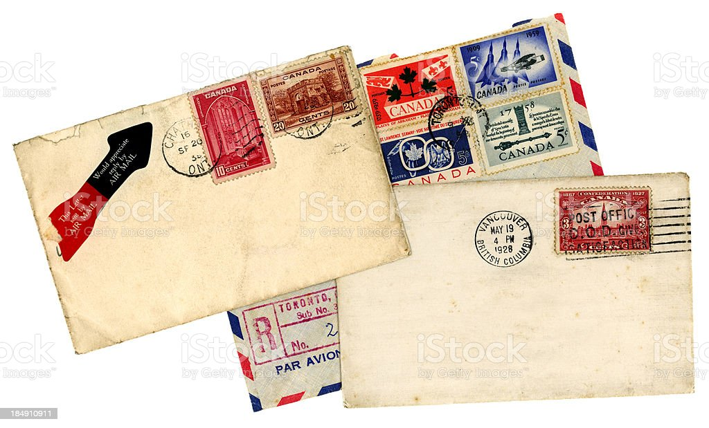Group of postal history from Canada stock photo