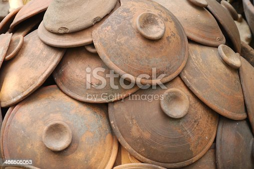 istock Group of pottery clay 486505053