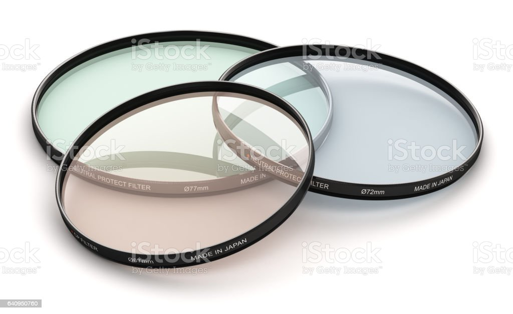 Group of professional photo camera filters stock photo