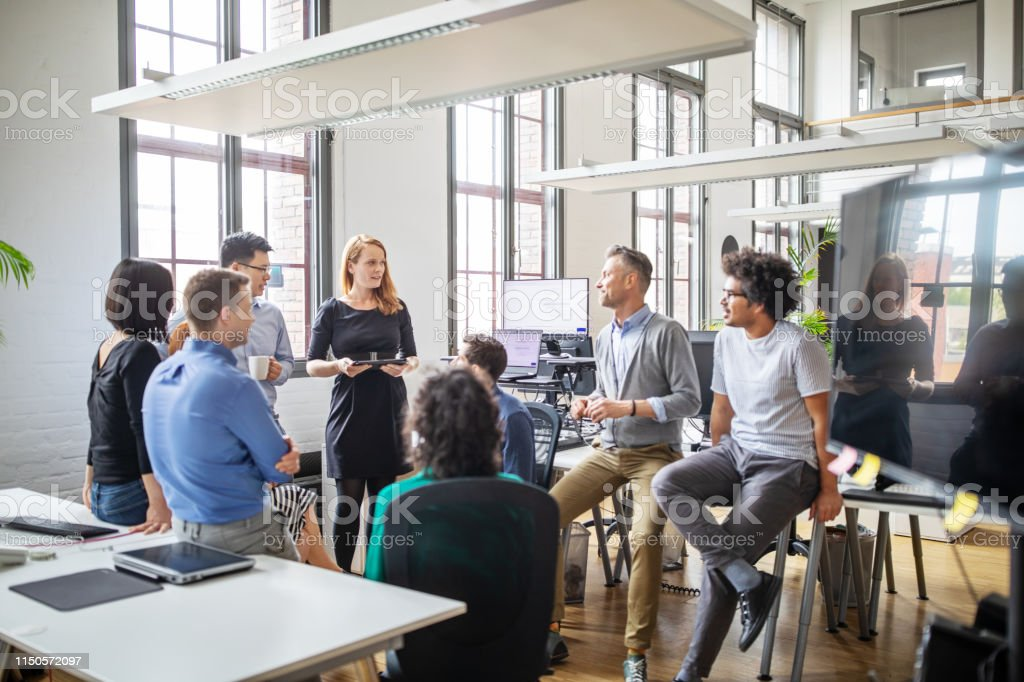 Group of professionals discussing new business plan - Royalty-free Adult Stock Photo