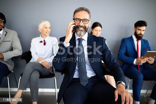 669854210 istock photo Group of proffesional business people communicating in modern office 1183764726
