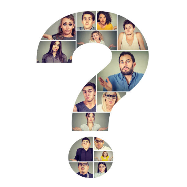 Group of puzzled people in question mark Collage in shape of question mark wit puzzled and confused men and women shrugging shoulders. shrugging stock pictures, royalty-free photos & images