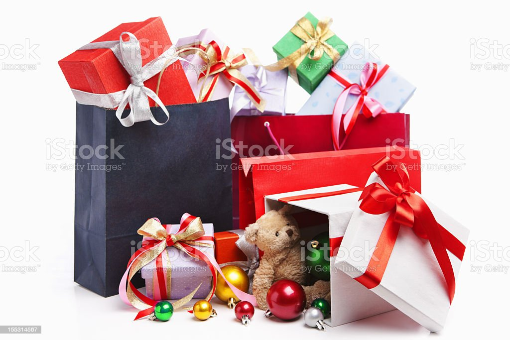 Group of red and white Christmas gifts on a white background stock photo