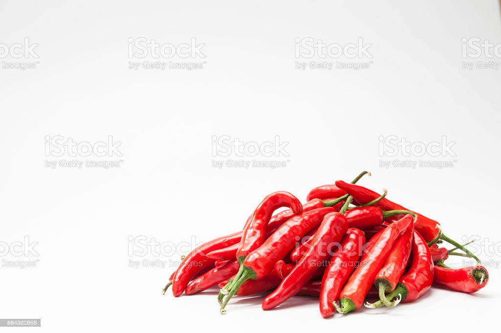 A Group of Red chili peppers isolate stock photo