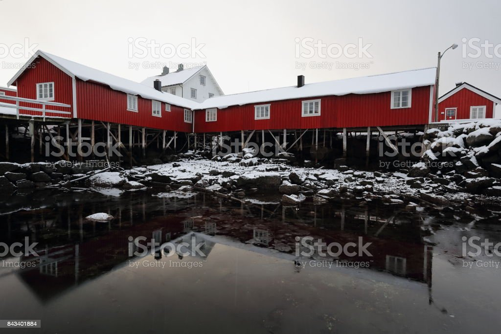 Group of red cottages-rorbuer in Hamnoy village. Reine-Moskenesoya-Nordland-Norway. 0366 stock photo