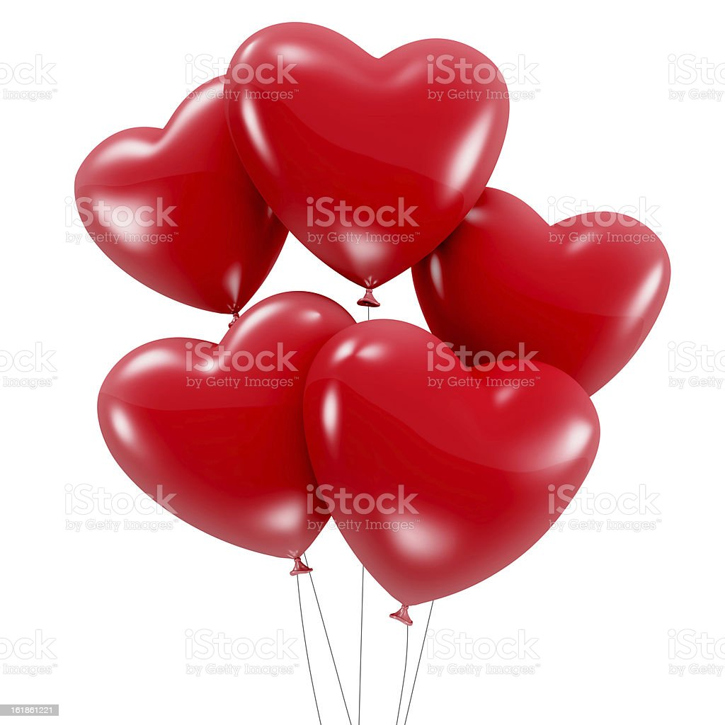 Group of red heart shaped balloons stock photo