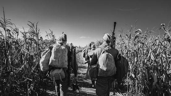 istock Group Of Re-enactors Dressed As World War II Russian Soviet Red Army Soldiers Marching Through Autumn Cornfield. Photo In Black And White Colors. Soldier Of WWII WW2 Times 1143749598