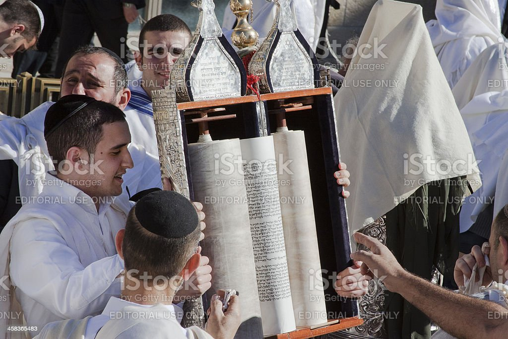 Group of religious men read the Torah at Passover stock photo