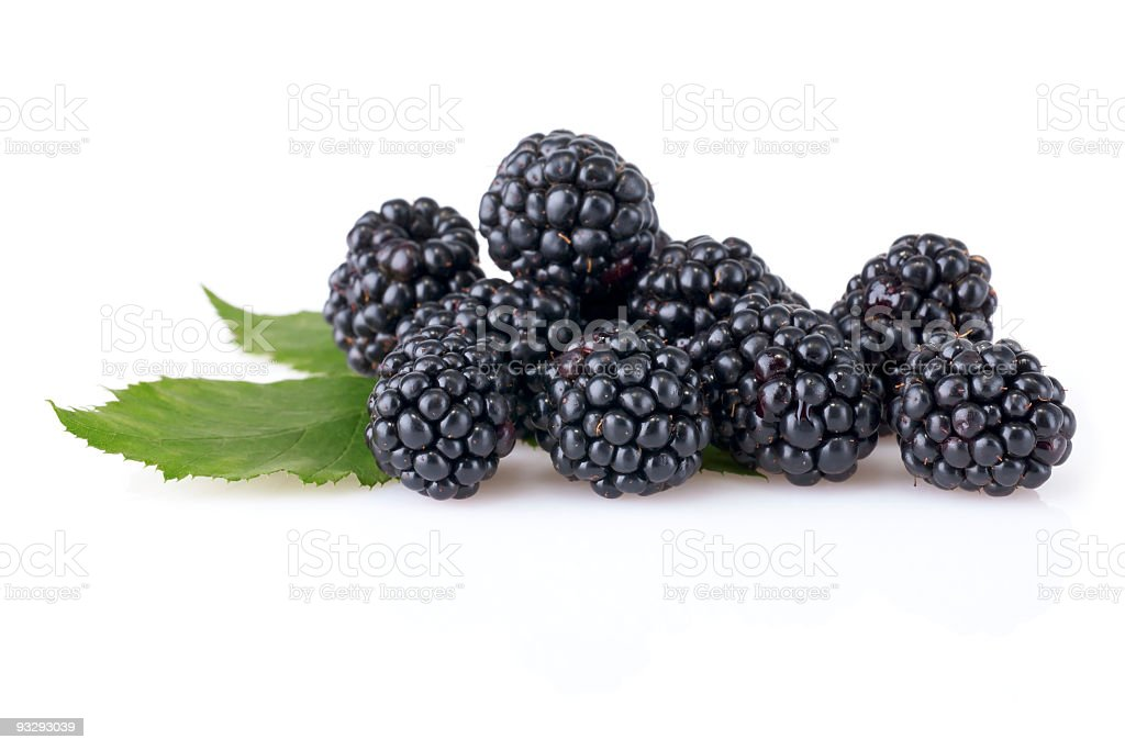 A group of ripe blackberries with leaves stock photo