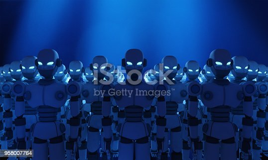 istock Group of robots on blue background, artificial intelligence in futuristic technology concept, 3d illustration 958007764