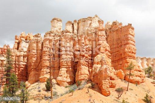 rock hoodoos near Bryce Canyon against dramatic sky